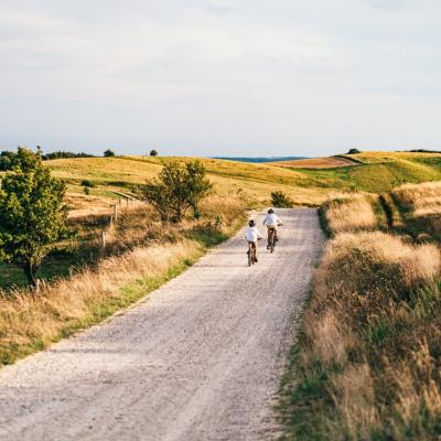 Kids biking in Mols Bjerge National Park, Djursland